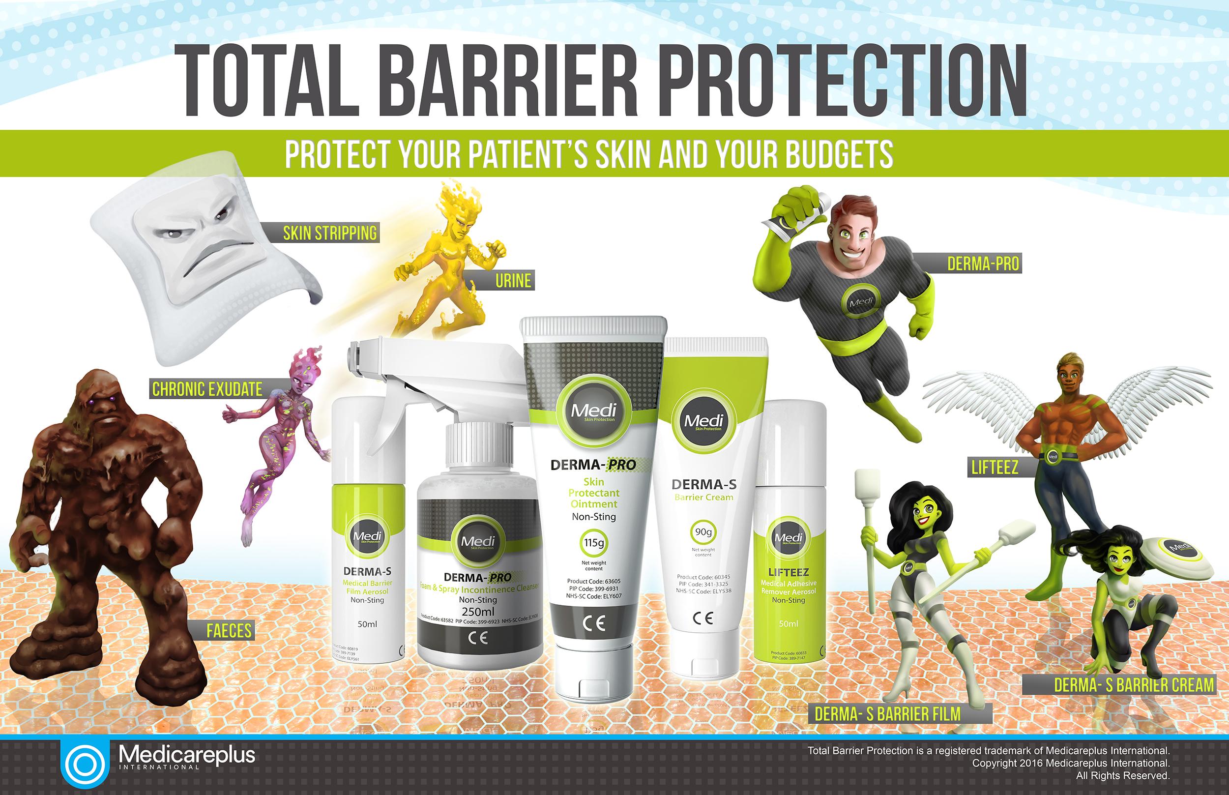 Total Barrier Protection - Desenvolvimento de personagens e concepção de materiais promocionais