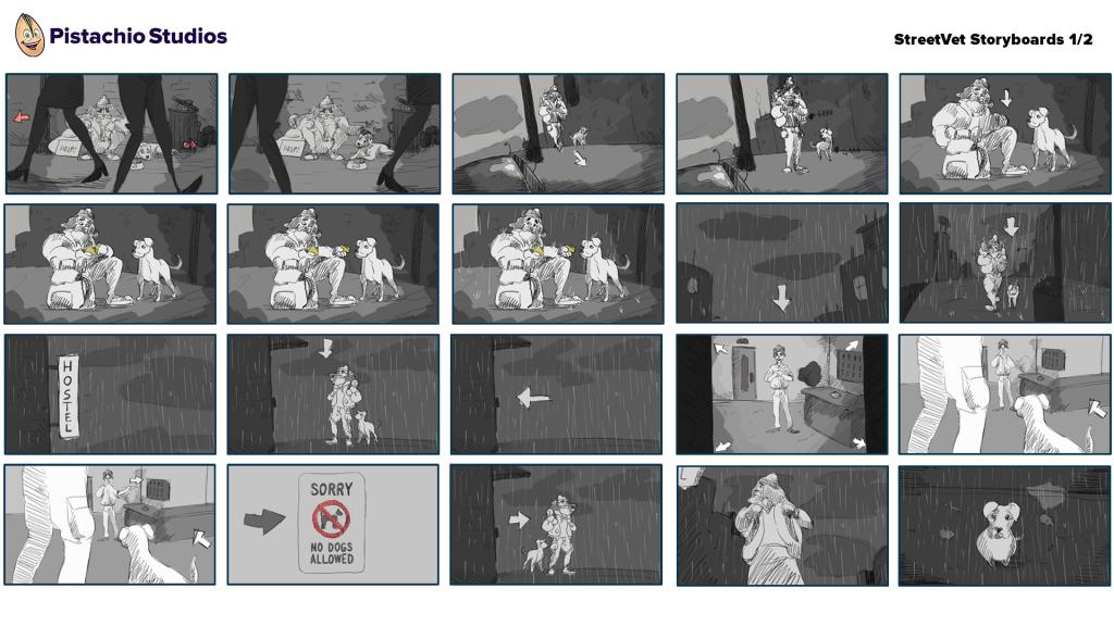 Storyboard panels for StreetVet